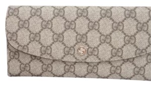 Gucci Mint Cond. Long Wallet Trifold Monogram Gg Leather Blue