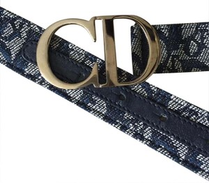 Dior DIOR MONOGRAMMED CANVAS BELT WITH LEATHER. SIZE 85 ITALY. MINT!!!