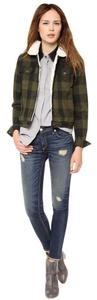 Rag & Bone Fleece Sherpa Denim Plaid Green, brown, black Womens Jean Jacket