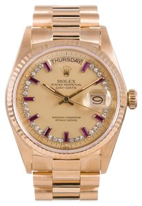 Rolex Rolex Day-Date 18K Yellow Gold Custom Diamond and Ruby Men's Presidential Watch