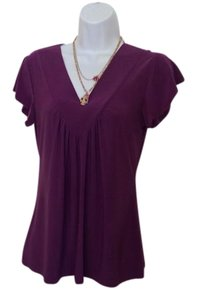 Vintage Suzie Light Weight V Neck Gathered Ap Sleeved Casual Dressy Top Purple/plum