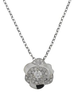 Chanel Chanel 18k White Gold Camellia Flower Diamond Necklace