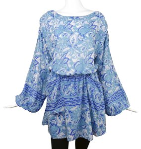 Free People short dress Blue Bohemian Backless Bell Sleeves Mini on Tradesy