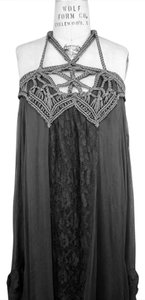 Darkest Gray Maxi Dress by Free People Black Hi Lo Bohemian Crochet Macrame