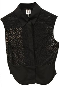 Anne Klein Button Down Shirt black lace