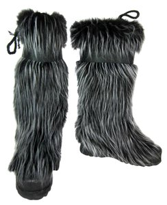 Chanel Leather Cc Black Tall Fur Boots