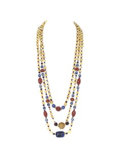 Other Multi-Colored 3 Strand Beaded Semi-Precious Stone Necklace