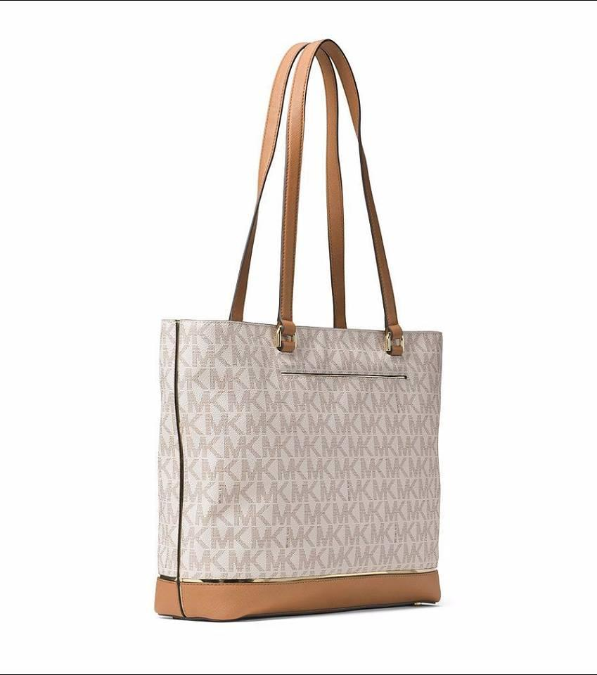 7bc19d57bb5f Michael Kors Frame Out Item Large North South Signature Tote in Vanilla  Image 4. 12345