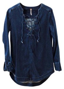 Free People Lace Up Deep V Tunic