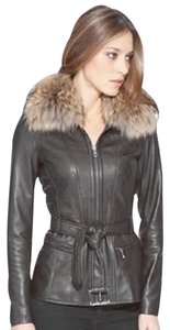 Andrew Marc Leather Racoon Belted Fur Coat Leather Jacket
