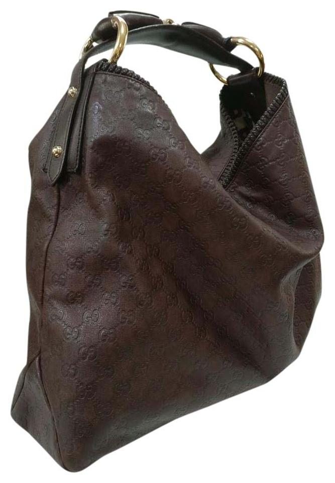 038df4a4ed8509 Gucci Horsebit Monogram Guccissima Large Bro Brown Leather Hobo Bag ...