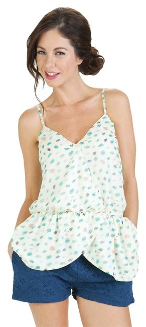 Tulle Anthropologie Printed Pattern Summer Breezy Casual Comfy Top Cream