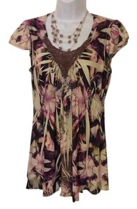 Live A Little Casual Dressy Short Top Multi earth tones
