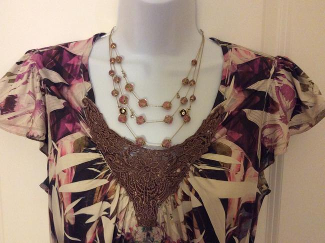 Live A Little Casual Dressy Short Sleeve Top Multi earth tones