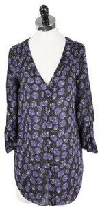 Shoshanna Silk Floral Top Black and Purple