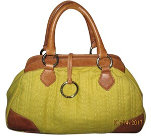 BCBGMAXAZRIA Wool And Leather Satchel in Mustard Yellow