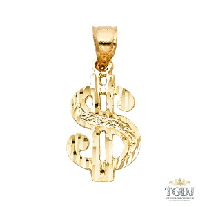 Top Gold & Diamond Jewelry Dollar Sign Pendant, 14K Yellow Gold Dollar Sign Pendant