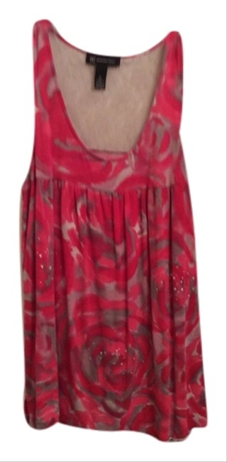 INC International Concepts Summer Long Tank Lace Tank Summer Dressy Tank Top Grey, pink and hot pink