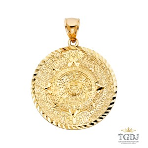 Top Gold & Diamond Jewelry Calendario Azteca Pendant, 14K Yellow Gold Calendario Azteca Pendant