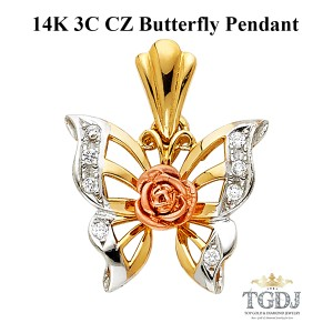 Top Gold & Diamond Jewelry 14K Tri Color CZ Butterfly Pendant,CZ Butterfly Pendant