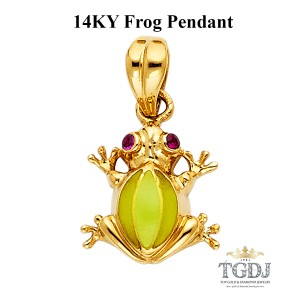 Top Gold & Diamond Jewelry Frog Pendant, 14K Yelow Gold Frog Pendant