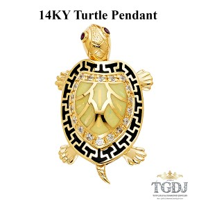 Top Gold & Diamond Jewelry Turtle Pendant, 14K Yellow Gold Turtle Pendant