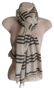 J.Crew J Crew Tissue Natural White And Gray Striped Scarf