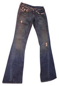 True Religion 100% Cotton Vintage Distressed Boot Cut Jeans-Distressed