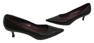 Gucci Stack Wood Made Italy Black leather leather lining kitten heels Italian Pumps