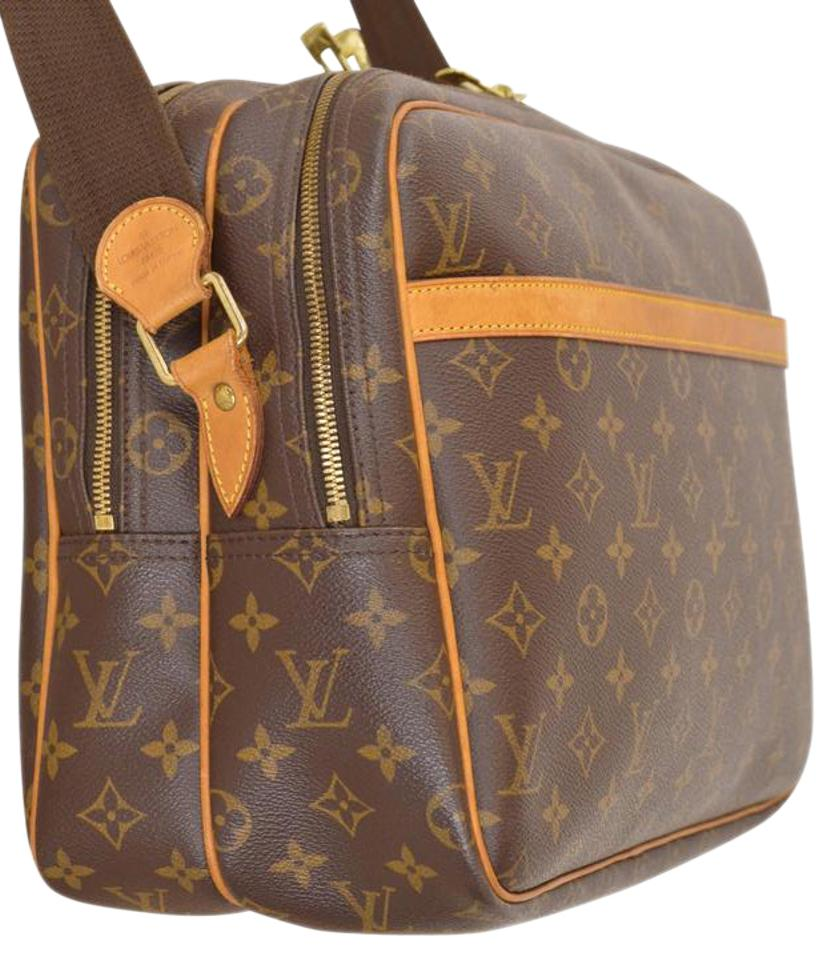 0a66bef452fb Louis Vuitton Monogram Reporter Gm Carry On M45252 Shoulder Brown Leather    Coated Canvas Cross Body Bag
