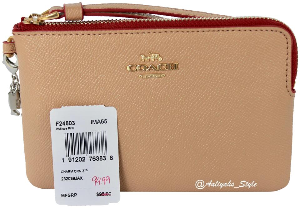 4de0ff547a9efa Coach Corner Zip With Charms F24803 Nude Pink Leather Wristlet - Tradesy