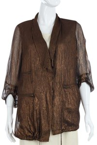 Diane von Furstenberg Dvf Metallic Drawstring Sheer Copper Jacket