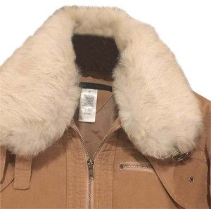 Marc Jacobs tan cordoroy white fur collar Jacket