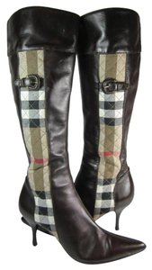Burberry Leather Nova Check Tall Brown Boots