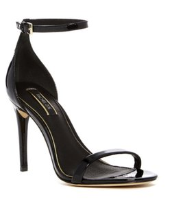 Rachel Zoe Leather Ankle Strap Open Toe Suede Jeans Black Sandals