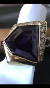 Custom Designed & Created Rare 25ct Deep Purple Amethyst & Diamond ring