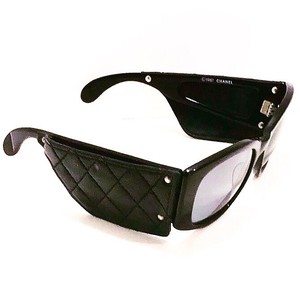 Chanel Vintage Black Quilted Lambskin Sunglasses