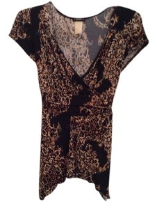 Cacama Dress Multi Colored Top Black, brown and cream