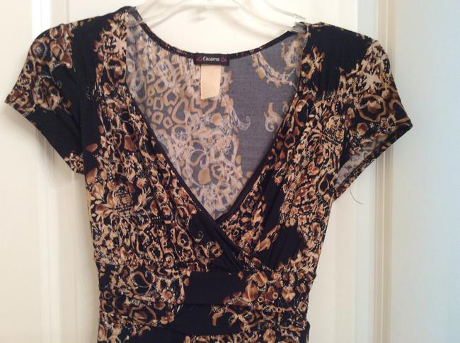 Cacama Dress Multi Colored Short Sleeve Top Black, brown and cream