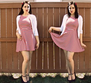 Divided by H&M short dress RED AND WHITE Fit Flare Striped Stretchy Summer Spring on Tradesy