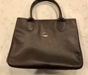 Longchamp Pebbled Leather Chocolate Brown Satchel in Dark Brown