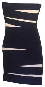 Herv Leger Bandage Strapless Blue Dress