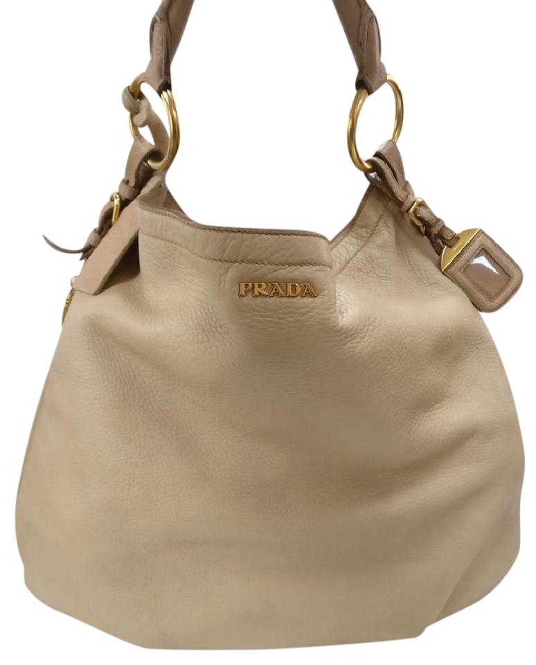 1f85100d39 Prada Deerskin Cervo Xl Zip Around Beige Leather Hobo Bag - Tradesy