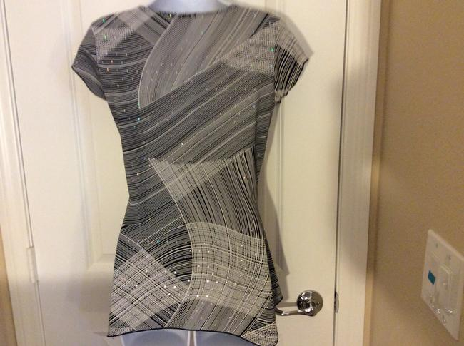 Fave' Dressy Sparkly Short Sleeve Dress Top Black, white and grey