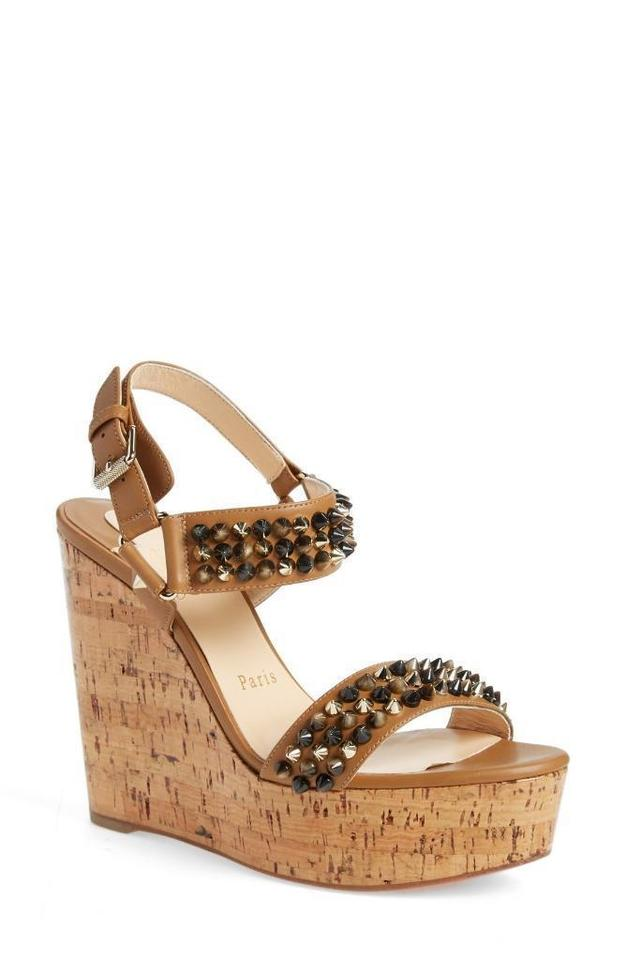 Bikee Sandals Studded Cork Platform Brown Heel Spike Bike Wedges Louboutin Christian AfxqUU