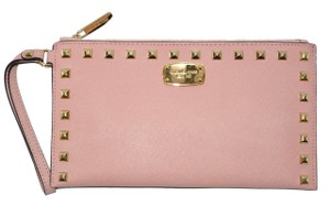 Michael Kors Studded Clutch Large Mk Wristlet in Pale Pink
