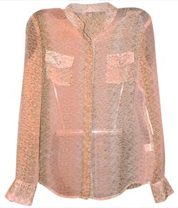 Daniel Cremieux Sheer Print Soft Stretchy Luxury Top Beige