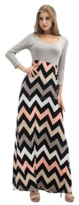Taupe, Black & Orange Maxi Dress by Other