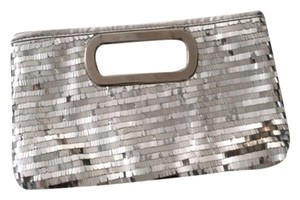 Charming Charlie Sequin Metal Silver Clutch