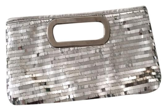 Charming Charlie Sequin Metal Shiny Fancy Classy Night Out Dressy Sequined Silver Clutch